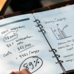 brauner Leder-Planer mit Grafiken und Kalkulationen