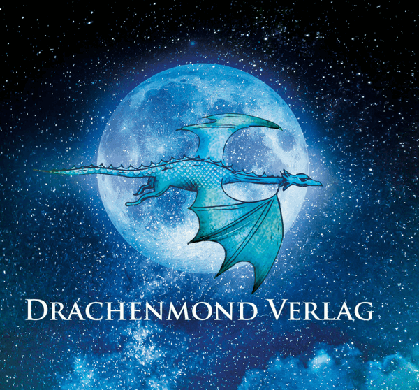 Drachenmond-Logo, Drache fliegt vor Mond