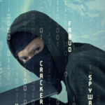 hacker stealing data online, binary code
